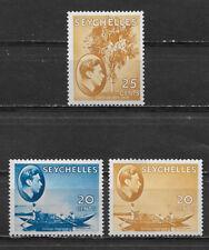 SEYCHELLES , 1938/51 , GEORGE VI , SET OF 3 STAMPS , PERF , VLH , CV$47.50