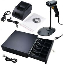 Point of Sale POS: USB Thermal Receipt Printer, Barcode Scanner, Cash Drawer