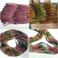 """AAA NATURAL MULTI TOURMALINE FACETED RONDELLE BEADS 3-5MM 13"""" GEMSTONE STRAND"""