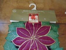 Home Wear Poinsettia Wreath Holiday Cutwork Collection Table Accent Runner New