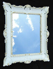 Espejo de Pared Barroco Baño Blanco Oro Rectangular 57x47 Antiguo