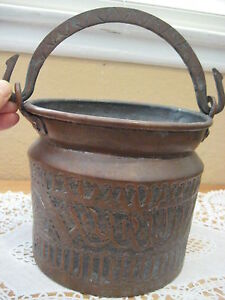 """Vintage Hand Made Turkish/Middle East Copper Pot W/ Handle, 8 1/2"""" Tall (Rare)"""