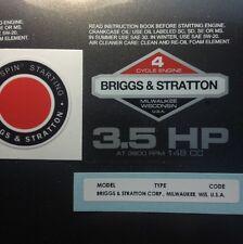 Briggs & Stratton 3.5-hp 1978-1980 Shroud Labels Decals set of 3