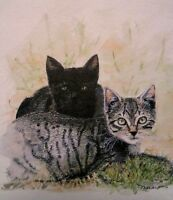 Greeting Card Cats Pets Paws Animals Nature Picture Watercolor Tabby Painting