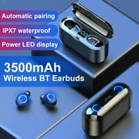 Wireless Bluetooth 5.0 Earbuds Headphones LCD Headset Noise Cancelling IPX7 New