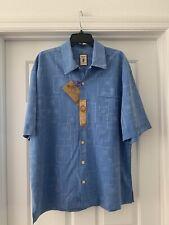 "JAMAICA JAXX Size XL NWT HAWAIIAN 100% SILK BLUE🌴 shirt. Pit To Pit 25"""