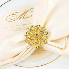 Napkin Rings Set of 8-Golden Medallion Rhinestone Napkin Holders for Wedding