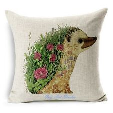 Square Vintage Linen Cotton Cute Animal hedgehog Cushion Cover