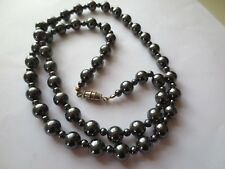 7mm Hematite Necklace Haematite Grey Beads Natural 59cm or 29 inches Long 71g