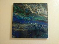 Abstract acrylic fluid art painting 12 x 12 stretched canvas wood frame wall art