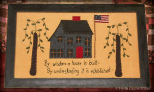 Americana Willow Trees Salt Box Stitched Framed Primitives Artwork Picture L@@K