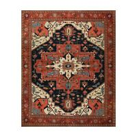 """8' x 9'3"""" Hand Knotted 100% Wool Herizz Traditional Oriental Area Rug Navy"""
