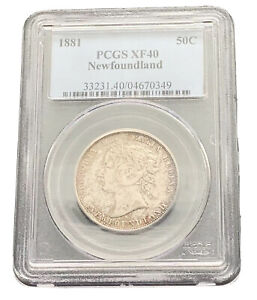 PCGS XF - 40 1881 Queen Victoria Newfoundland 50 Cents- 92.5% 50,000 Minted~