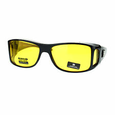 OTG (Over The Glasses) Yellow Lens Anti-Glare Semi Goggle Sunglasses