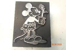 New listing Printing Letterpress Printer Block Decorative Mickey Mouse w Flower Print Cut
