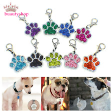 50p Pet ID Dog Cat Tags Paw Print Dangle Hang Charm Lobster Clasp Keyring
