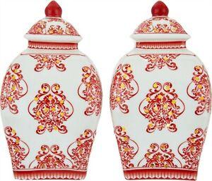 Set (2) Illuminated 55 Damask Porcelain Urns Valerie Red # H211685