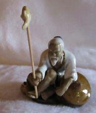 China Asia Mönch Buddha Figur Porzellan Angler Fischer Keramik ca.14cm