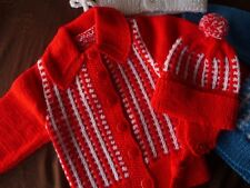 Hand Knitted BABY GIRL Red w/ White CARDIGAN SWEATER + FREE HAT 24-30 mos 2-3yrs