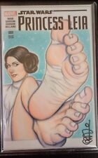 Star Wars Princess Leia Comic Original Art Signed Sketch Variant by Scott Blair