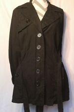 Curvaceous Womens Size Medium Black Trench Coat Jacket Belted Cotton Blend 38
