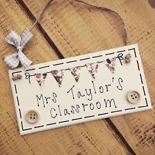Classroom Sign Bunting Personalised Plaque Welcome Door Gift Present Teacher
