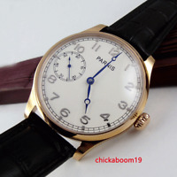 44mm PARNIS White Dial Rose Gold 17 jewels 6497 Mechancial Hand Wind Men's Watch