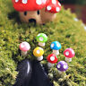Mini 10 Pcs Mushroom Miniatures Set Fairy Garden Ornament Lawn Terrarium Decor