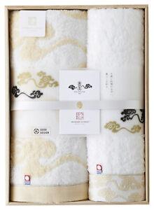 IMABARI KINSEI KIRA KARACHO Face & Bath Towel Pair with Wooden Box Made in Japan