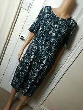 JIGSAW Ladies Black & White Graphic Print Short Sleeve Knee Length Dress Sz L nk