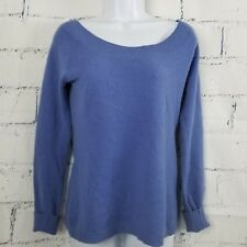 Old Navy 2-Ply 100% Cashmere size Medium Blue Scoop Neck Sweater Long Sleeve