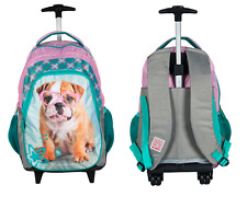 SWEET DOG BULLDOG TROLLEY School Bag Backpack on wheels licensed NEW