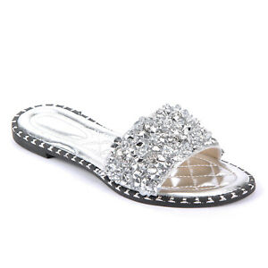 WOMENS LADIES FASHION CRUSHED CRISTALS SPARKLY SPRING SUMMER SLIDERS SANDALS UK