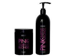 Rosa Haarpflege Set Haarmaske Shampoo Pink Farbpigment Haarkur Blond Anti Gelb