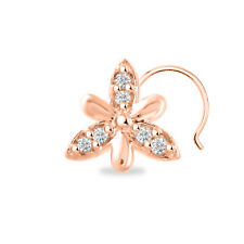 Women'S Nose Pin Sterling Silver Daily Wear 14K Rose Gold Finish Cz Three Petals