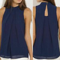 Fashion Chiffon Women Vest Tank Tops Sleeveless Blouse Casual Summer Shirt 2018