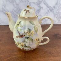 Hummingbird Porcelain Teapot w/Lid & Teacup