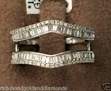 White Gold Baguette and Round Diamonds Ring Guard Wrap Solitaire Enhancer 0.50ct