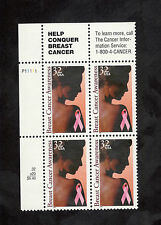 3081  Breast Cancer Awareness Left Plate Block Mint/nh (Free shipping offer)