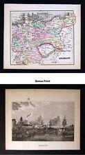 1857 Morse Map x 2 - Germany Map & View of Bremen Print - Prussia Bavaria Berlin