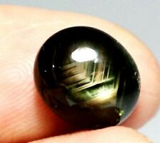 HEATED STAR CABOCHON BLACK GREEN HARDNED NATURAL 9.65 CT STREAK LINED