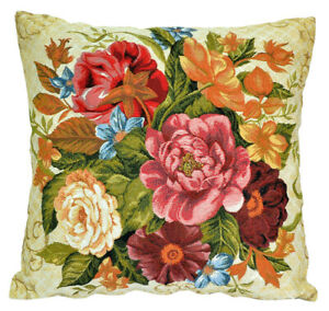 18x18 Tapestry Pillow, Woven Decorative Bed Pillow, Embroidered Flowers Gobelin