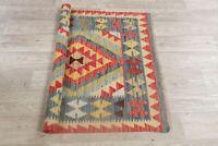 Geometric Oriental Area Rug Hand-Woven Wool Traditional Turkish Kilim Carpet 3x3