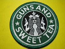 """TACTICAL MORALE PATCH """"GUNS & SWEET TEA"""" 3 INCH CIRCLE SEW ON TYPE LOOK AND BUY!"""