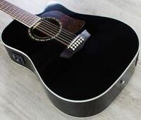 Washburn Heritage 10 12String Dreadnought Cutaway Acoustic-Electric Guitar Black