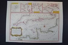 Vintage Marine chart sheet map of English Chanel French coast English coast