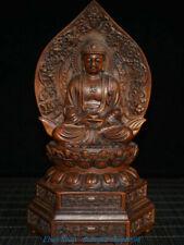 Old Tibet Boxwood Buddhism Sakyamuni Shakyamuni Buddha Bowl Lotus Statue