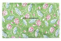5/10 Yard Indian Green Floral Hand Block Print Cotton Fabric Dressmaking Sewing