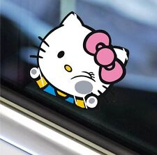 Cute Hello Kitty breaking the window car decal car sticker - 1pc