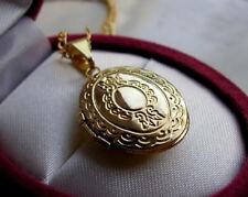 BEAUTIFUL 9ct Gold gf Oval Locket Necklace gf FREE POSTAGE IF YOU BUY TODAY 75s